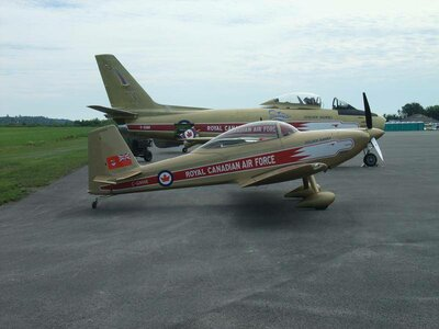 Next to the Vintage Wings Sabre, in Golden Hawks colours