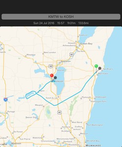 Route from Manitowoc to Oshkosh, with a hold at Green Lake